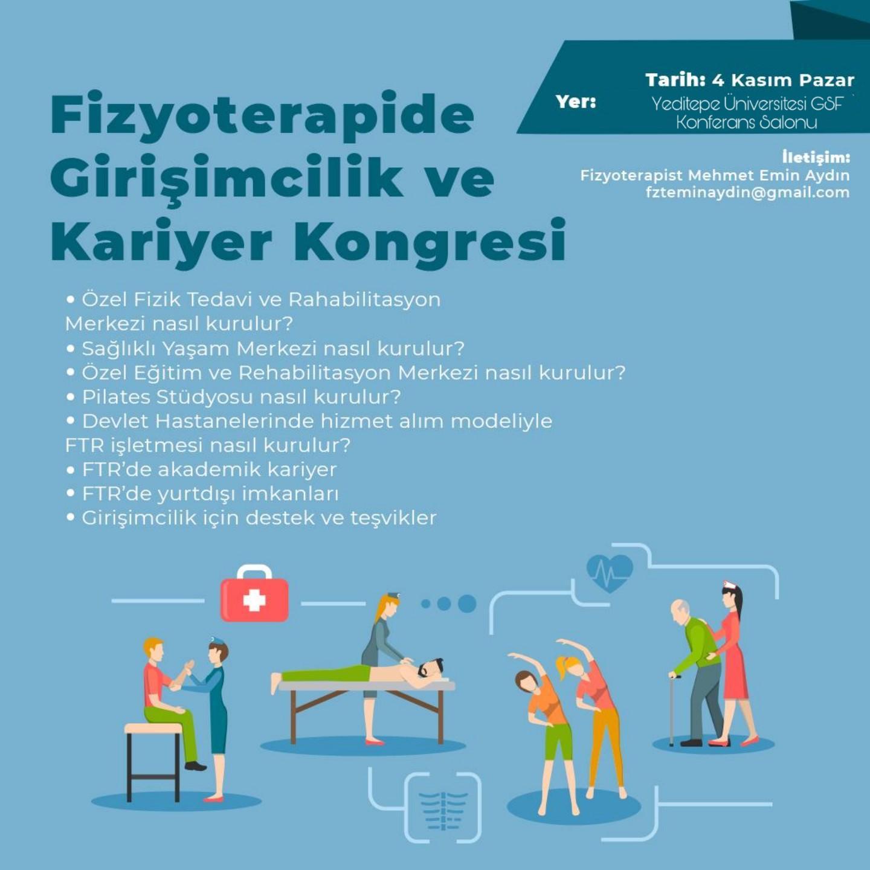 Fizyoterapide Girişimcilik ve Kariyer Kongresi 4 Kasım 2018 tarihinde Yeditepe Üniversitesi'nde gerçekleşecek.